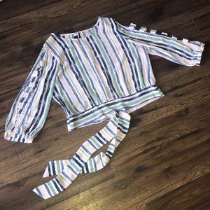 BCX XL Women's Striped Lattice Sleeve Tie Back Top